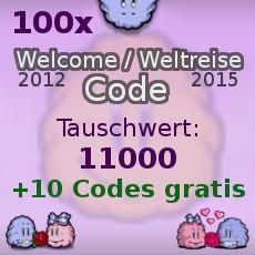 100 X Abo Welcome 2012 Smileycode ODER Weltreise Code 2015 + 10 Codes Bonus
