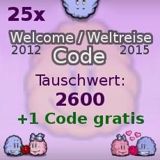 25 X Abo Welcome 2012 Smileycode ODER Weltreise Code 2015 + 1 Code Bonus