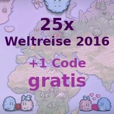 26x Weltreise 2016 für 50€ Paysafecard