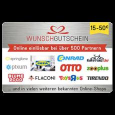 50€ Wunschgutschein - in über 500 Shops einlösbar!