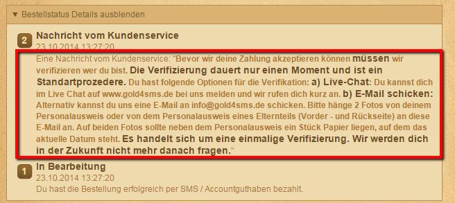 Wir haben eine Nachricht vom Kundenservice bekommen: Bitte Identität verifizieren